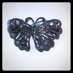 Vintage Marcasite Butterfly Hair Clip